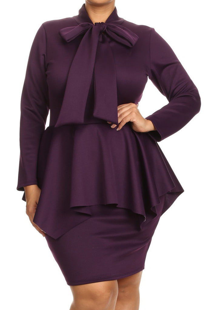 long sleeve peplum bow plus size mini dress – plussizefix