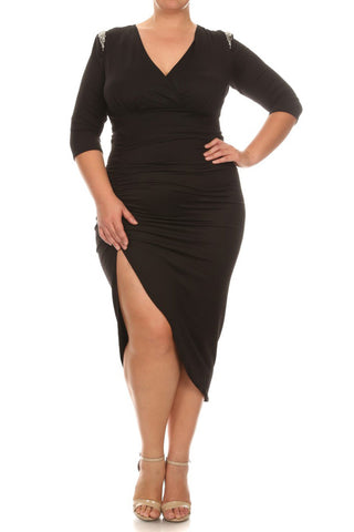 Glaring Empress Sequin Shoulder Plus Size Dress