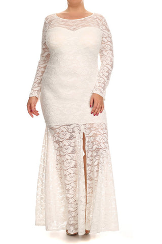 See Through Lace Front Slit Plus Size Maxi Dress