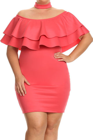 Off Shoulder Ruffled Choker Plus Size Dress