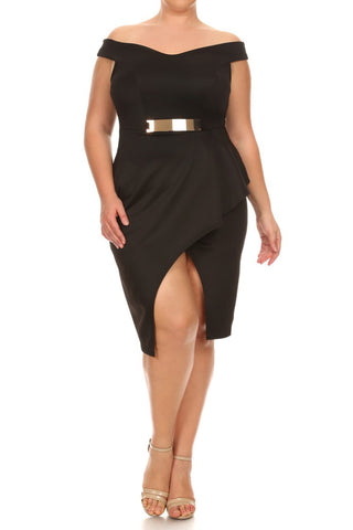Pretty Buckle Plus Size Bardot Dress