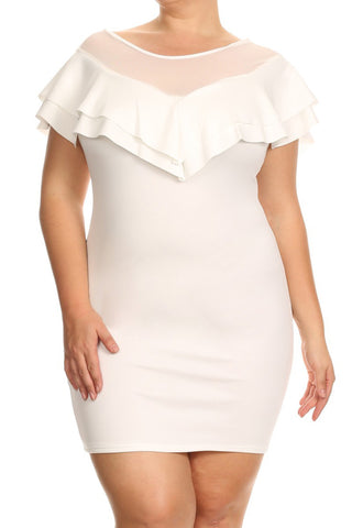 Mesh Flounce Ruffle Mesh Plus Size Dress