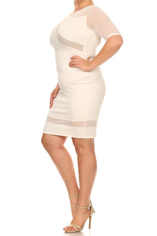 Mod Bodycon Mesh Panel Plus Size Dress