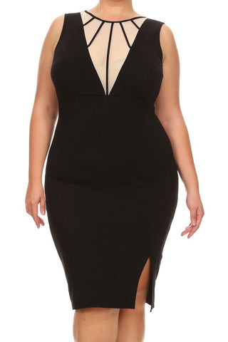 Bold Mesh Detail Sleeveless Plus Size Dress