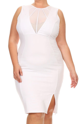 Bold Mesh Detail Sleeveless Plus Size Dress [SALE]