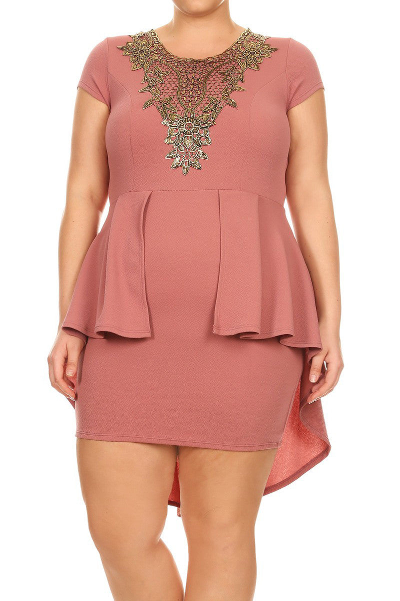 Plus Size Hi Low Gold Floral Dress