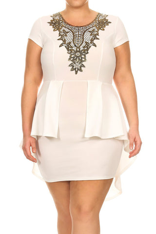 Detailed Gold Floral Hi Low Peplum Plus Size Dress