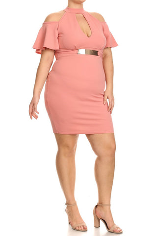 Beautiful Cut Out Belted Plus Size Dress