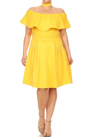 Plus Size Dashing Ruffled Choker Neckline Dress