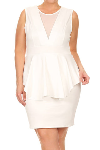 Plus Size Sexy Solid Mesh Peplum Dress
