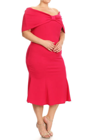 Plus Size Bow Detailed Mermaid Silhouette Dress