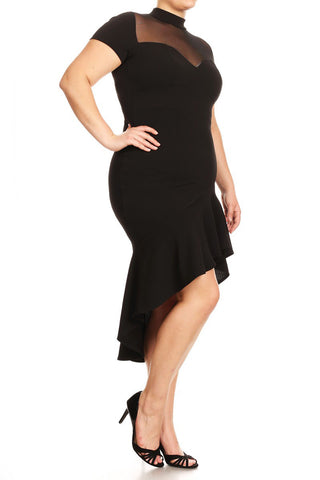 Plus Size Hi-Lo See Through Mesh Panel Dress