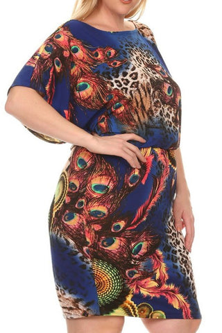 Plus Size Mixed Animal Print Midi Dress In A Relaxed Fit - Blue