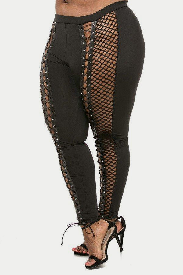 Plus Size Sexy Lace Up Detailed Net Leggings