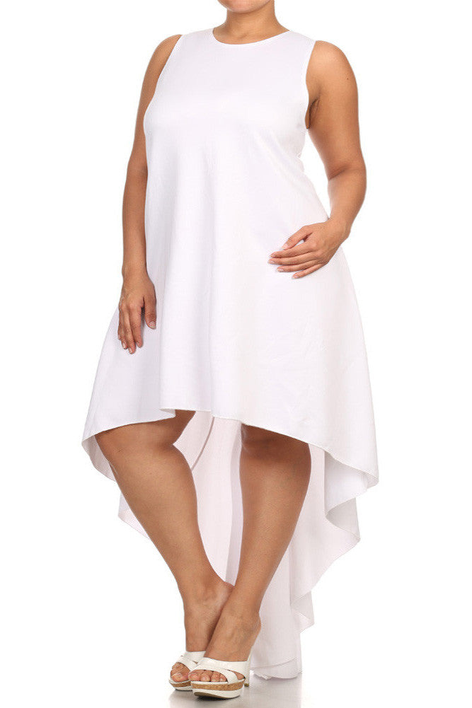 Plus Size Dip Hem Chic White Maxi Shirt Dress
