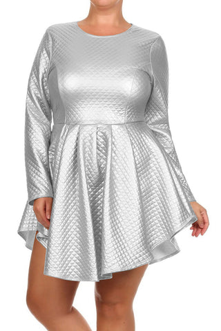 Plus Size Diamond Gal Faux Leather Skater Dress
