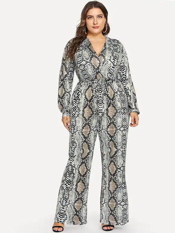 Plus Self Tie Snake Print Jumpsuit