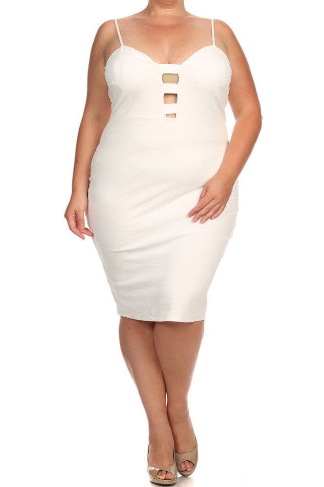 Plus Size Sweetheart Cut Out White Dress