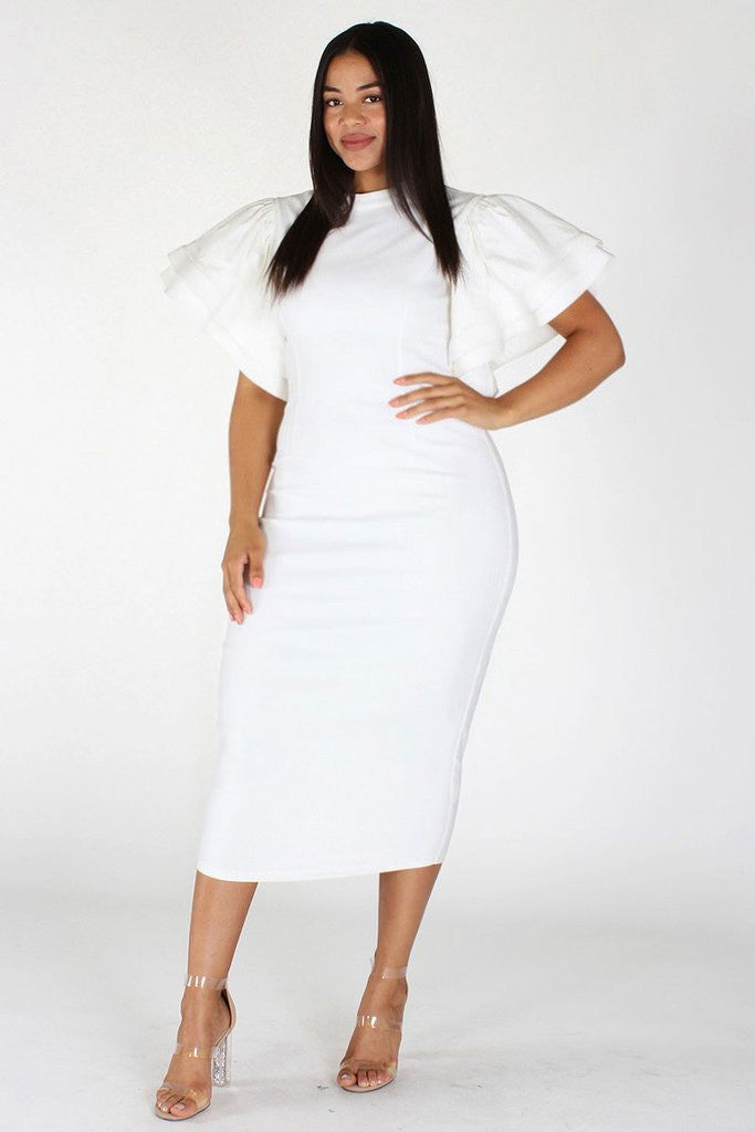 Plus Size Gala Ruffle Sleeves Midi Dress – Plussizefix