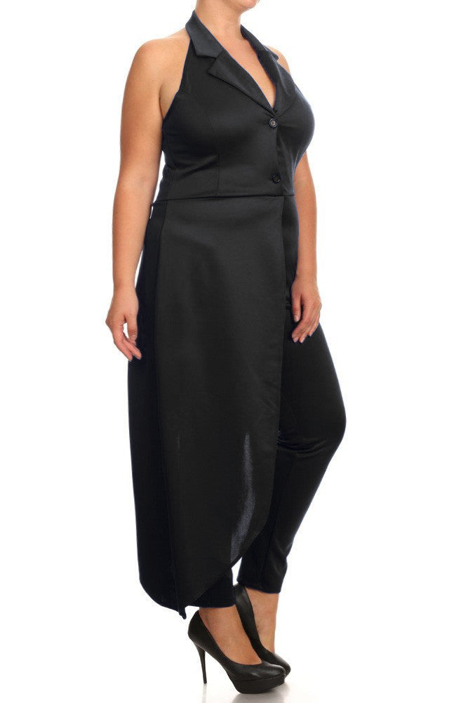 New York City Side Cape Plus Size Jumpsuit Plussizefix