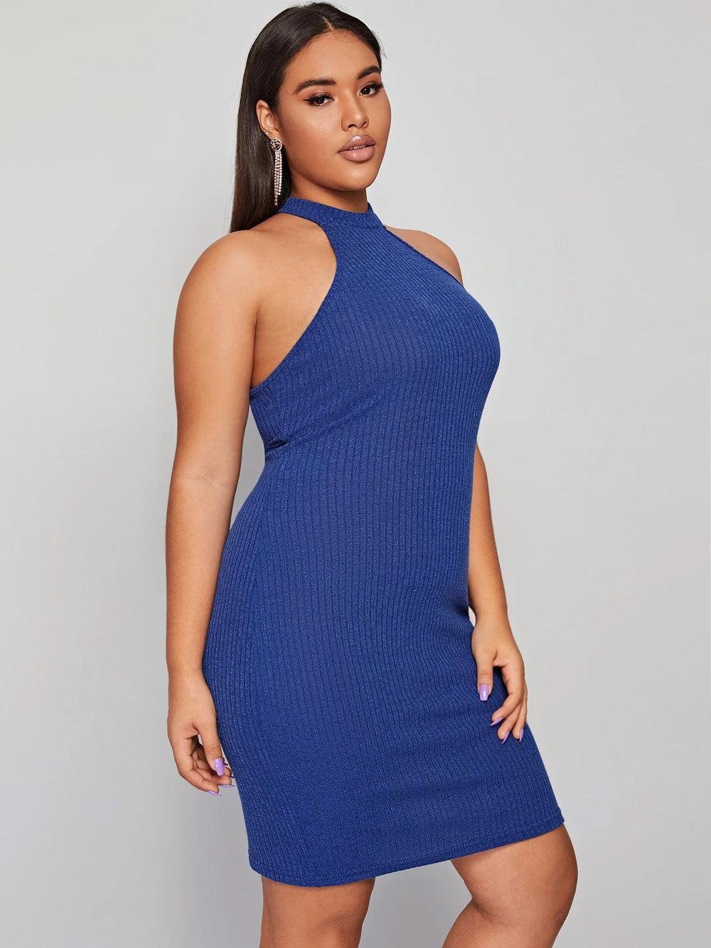 Plus Size Rib-knit Halter Bodycon Dress