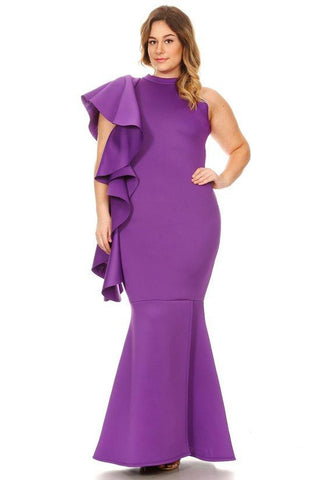 Plus Size Glamour Sleeve Mermaid Maxi Dress