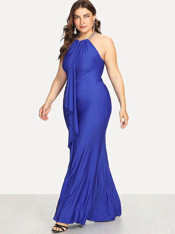 Plus Size Ruffle Embellished Fitted Halter Dress