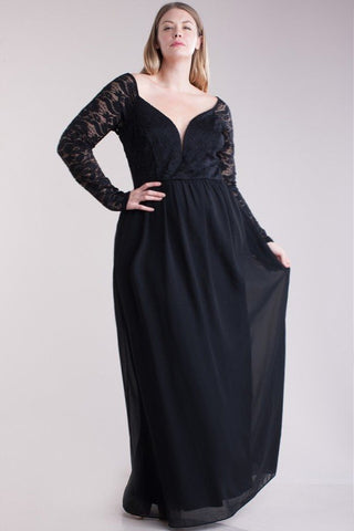 Sweetheart Neckline Floral Lace Sleeve Plus Size Dress - Black