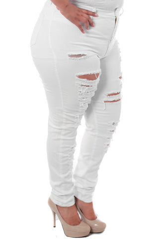 Plus Size High Waist Slashed White Denim Jeans