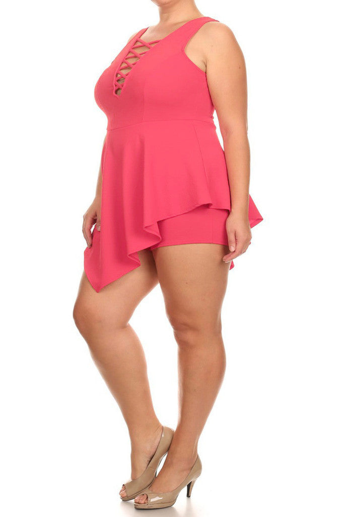 Plus Size Sexy Lace Up Romper Dress