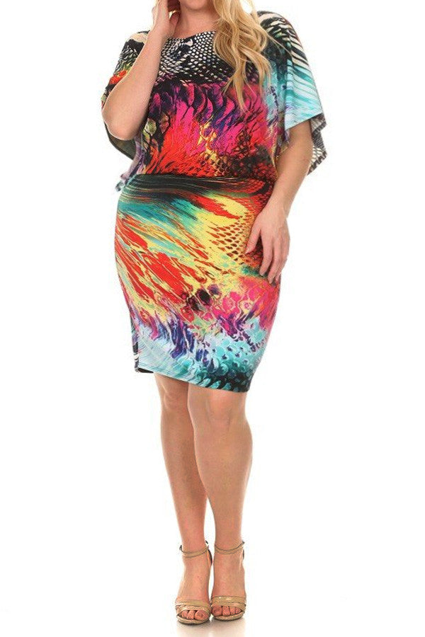 Plus Size Multicolored Mix Print Midi Dress In A Relaxed Fit - Multi