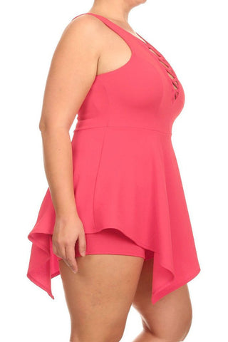 Plus Size Criss Cross Sexy Front Romper Dress