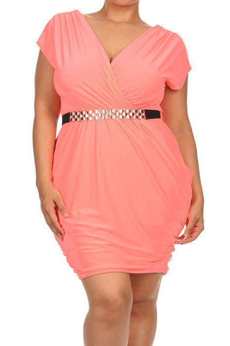 Plus Size Captivating Ruched Belted Dress