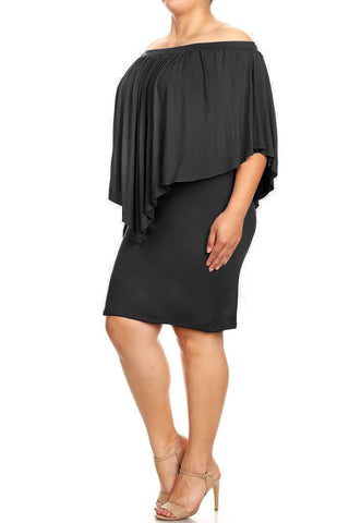 Plus Size Rufflled Off Shoulder Overlay Bodycon Fit Dress