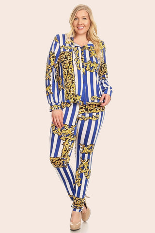 Plus Size Designer Print Button Up and Bottom Set