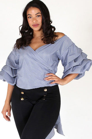 Plus Size Bow Cutie Wrap Ruffled Top