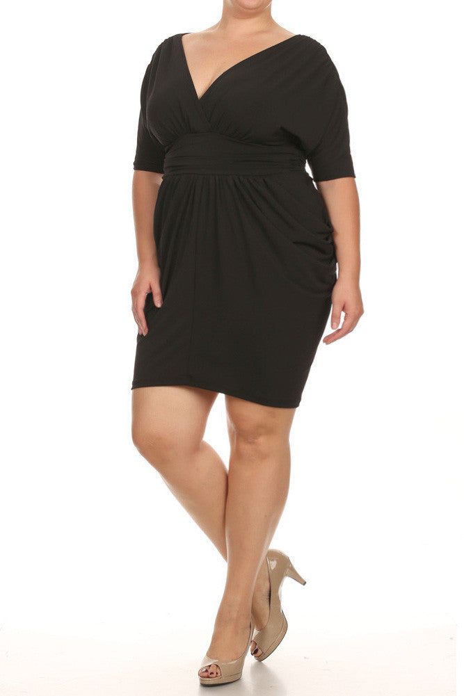 Plus Size Divine V Neck Pleated Black Dress