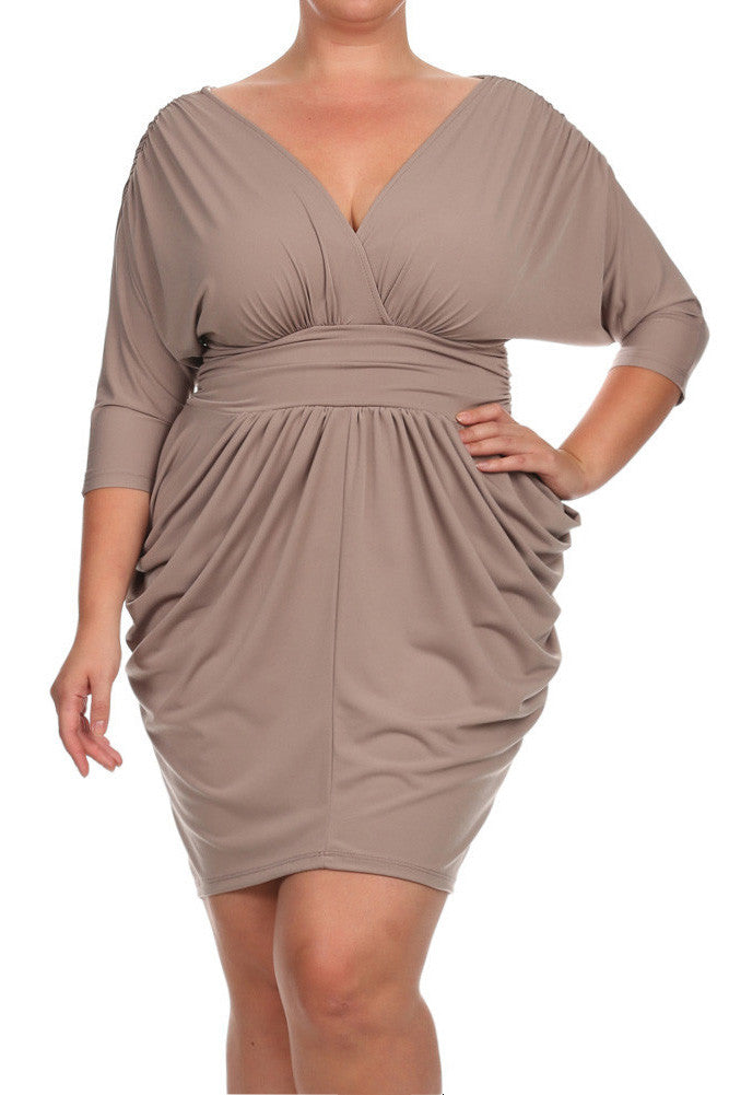 Plus Size Divine V Neck Pleated Taupe Dress