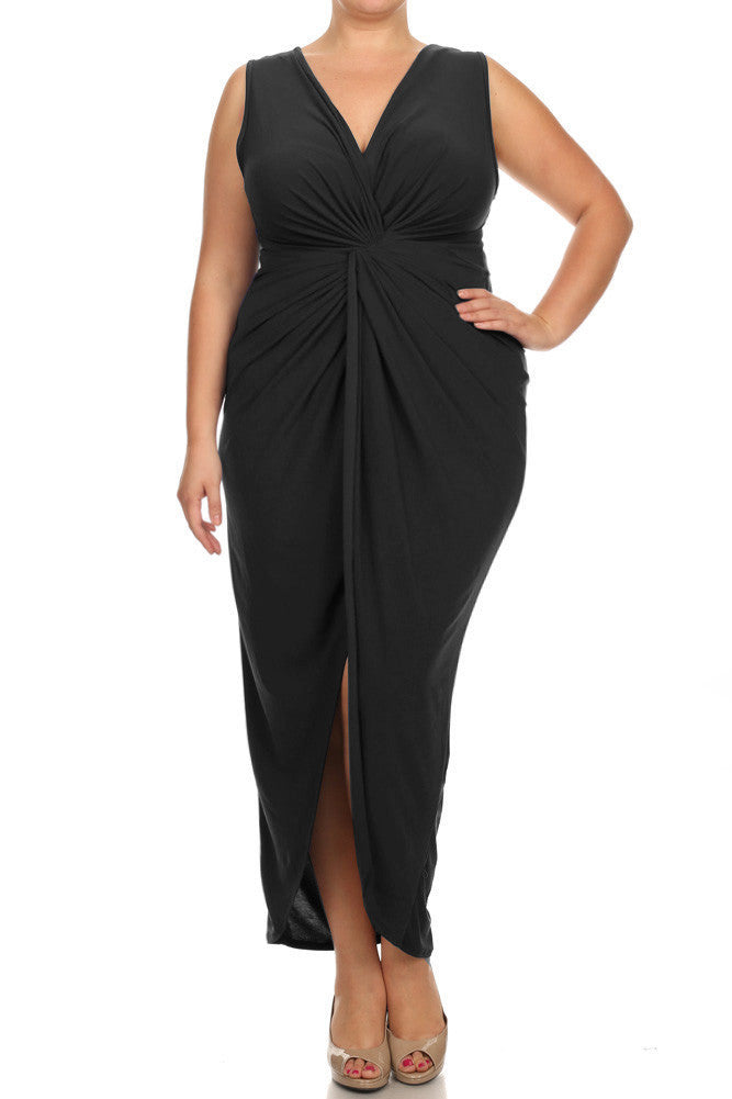 Plus Size Luring Knot Front Black Maxi Dress