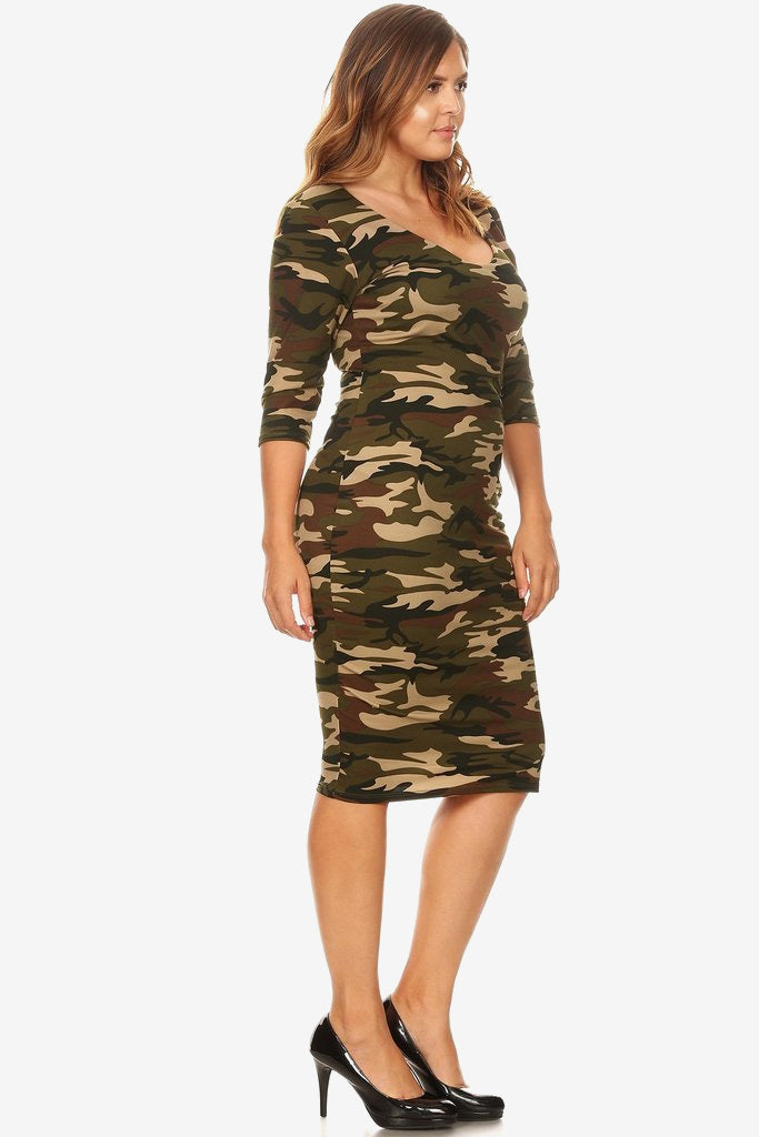 89c5931f7a08 Plus Size Camo Soft Scoop Neck Bodycon Dress – Plussizefix