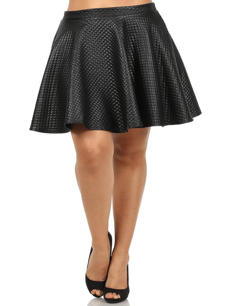 Plus Size Lively Diamond Pattern Skater Skirt