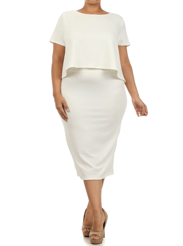 Plus Size So Bossy Boxy White Crop Top Skirt Set