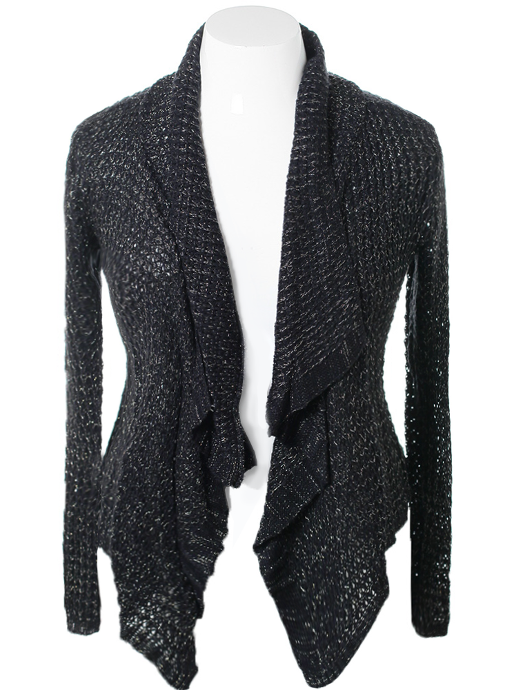 Plus Size Knitted Stretchy Black Cardigan