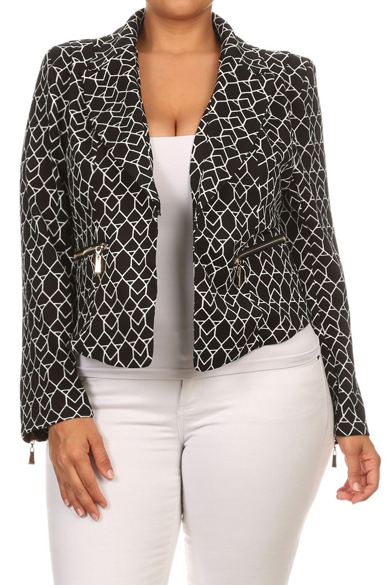 Hot Geometric Print Plus Size Jacket