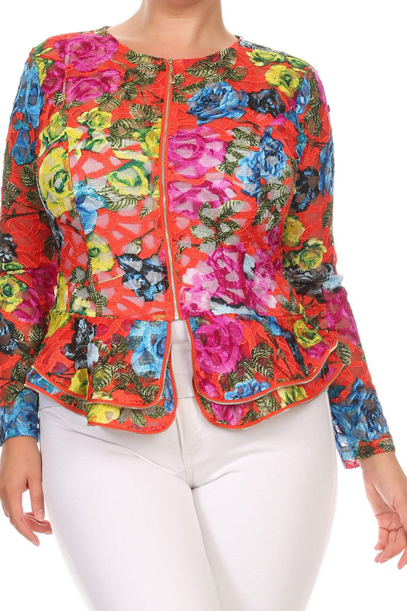 Dashing Layered Ruffles Plus Size Jacket