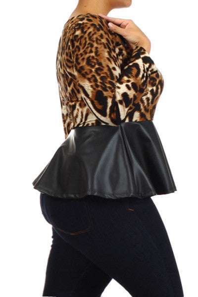 Leopard Long Sleeve Leather Peplum Top
