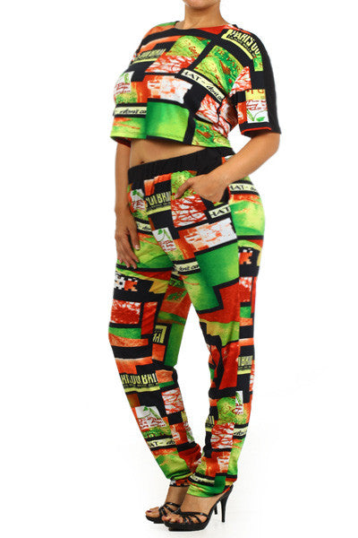 Plus Size Rihanna Two Piece Rasta Print Jumpsuit