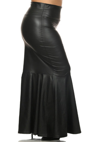 Plus Size Sexy Curve Mermaid Leather Maxi Skirt