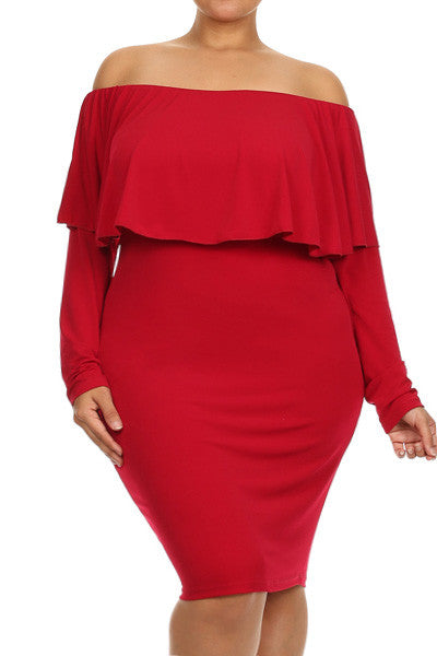 Plus Size Sexy Off The Shoulder Ruffle Dress