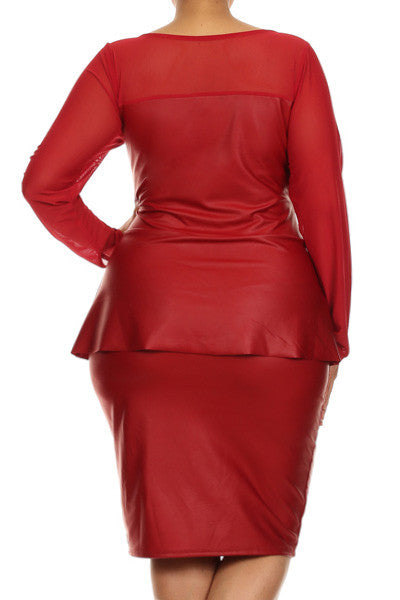 Plus Size Mesh Long Sleeve Leather Peplum Dress